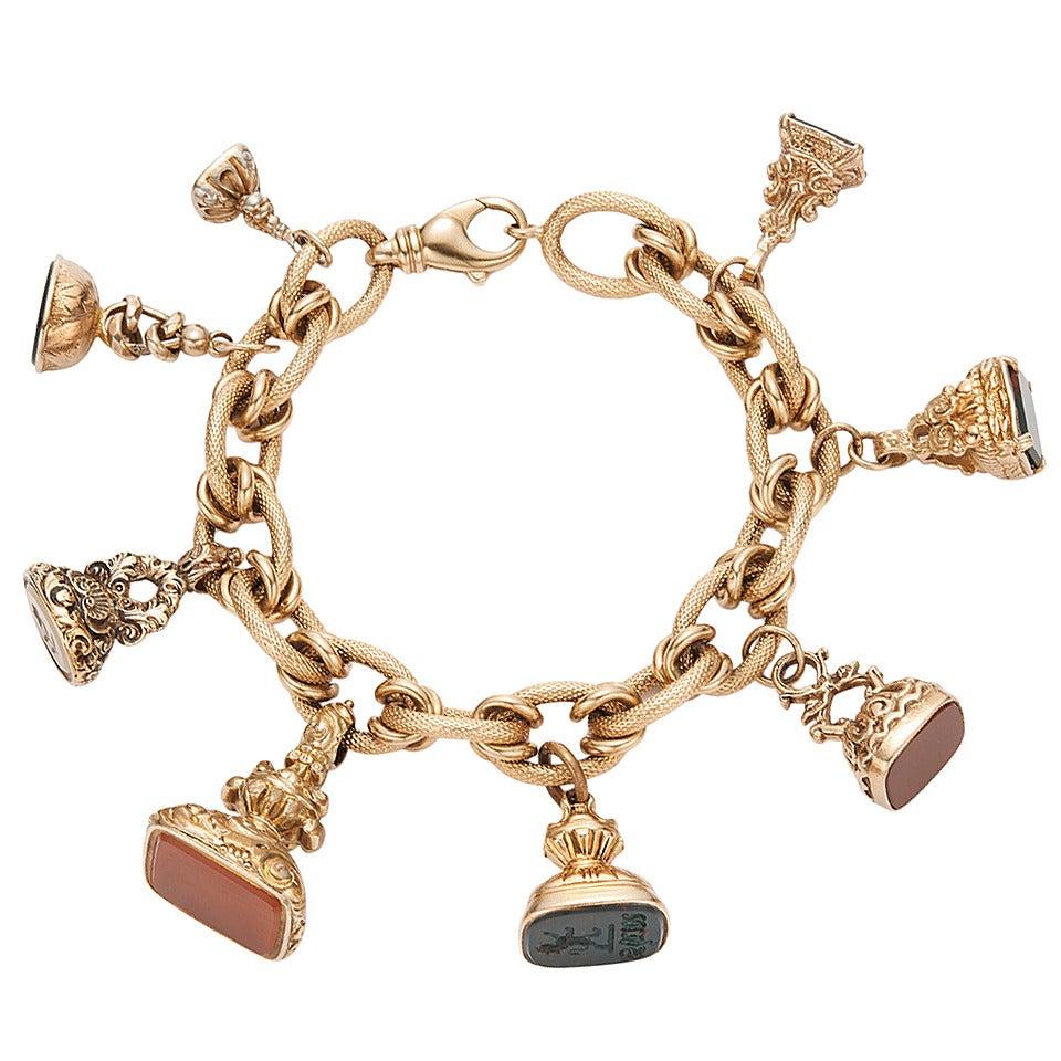 eight hardstone seal fob gold charm bracelet for