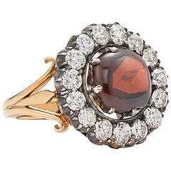 Garnet Diamond Gold Cluster Ring by Fred Leighton