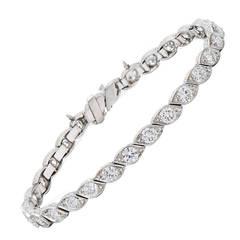Art Deco Diamond Platinum Twist Line Bracelet