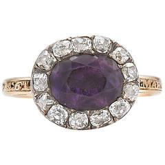 Georgian Amethyst Diamond Silver Gold Foil Backed Ring circa 1770