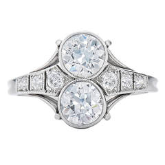 JE Caldwell Twin Old European Cut Diamond Platinum Engagement Ring circa 1916