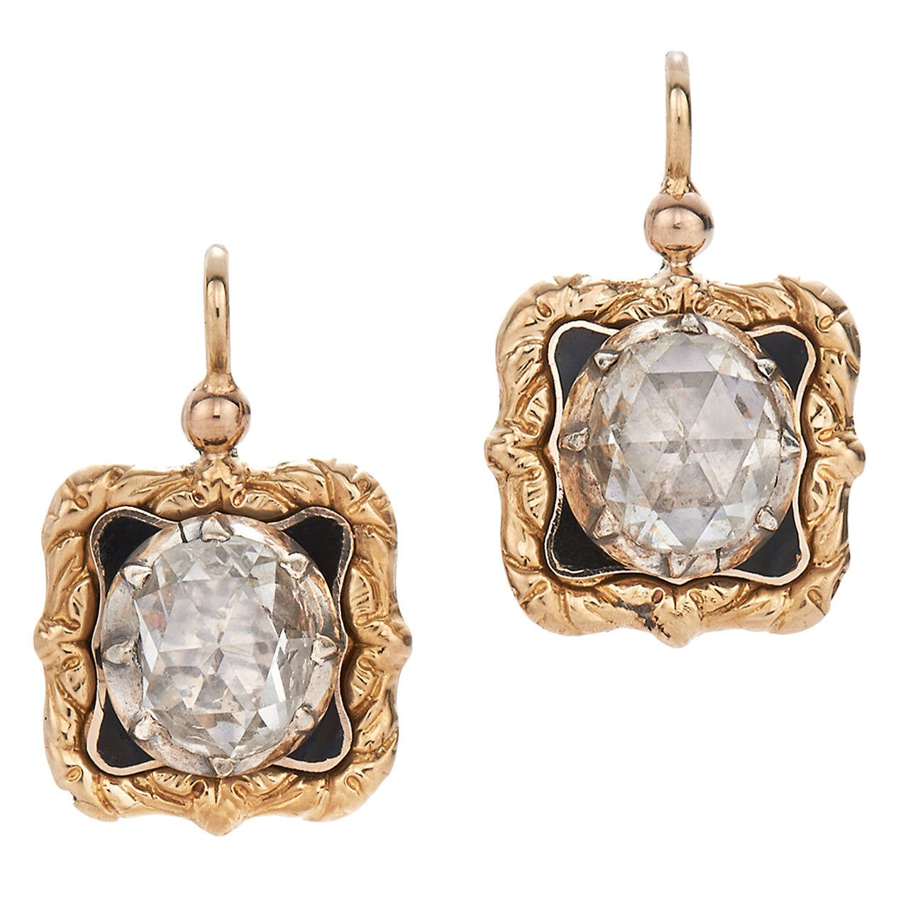 1850s Enamel Rose Cut Diamond Gold Drop Earrings 1