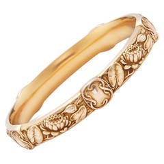 Riker Bros. Art Nouveau Gold Lotus Flower Bangle