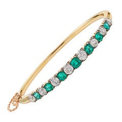 1870s Emerald and Diamond Bangle