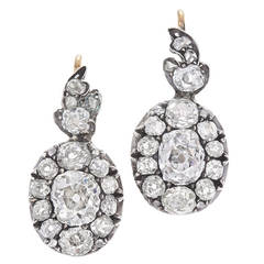 Old Mine Diamond Cluster Drop Earrings by Fred Leighton