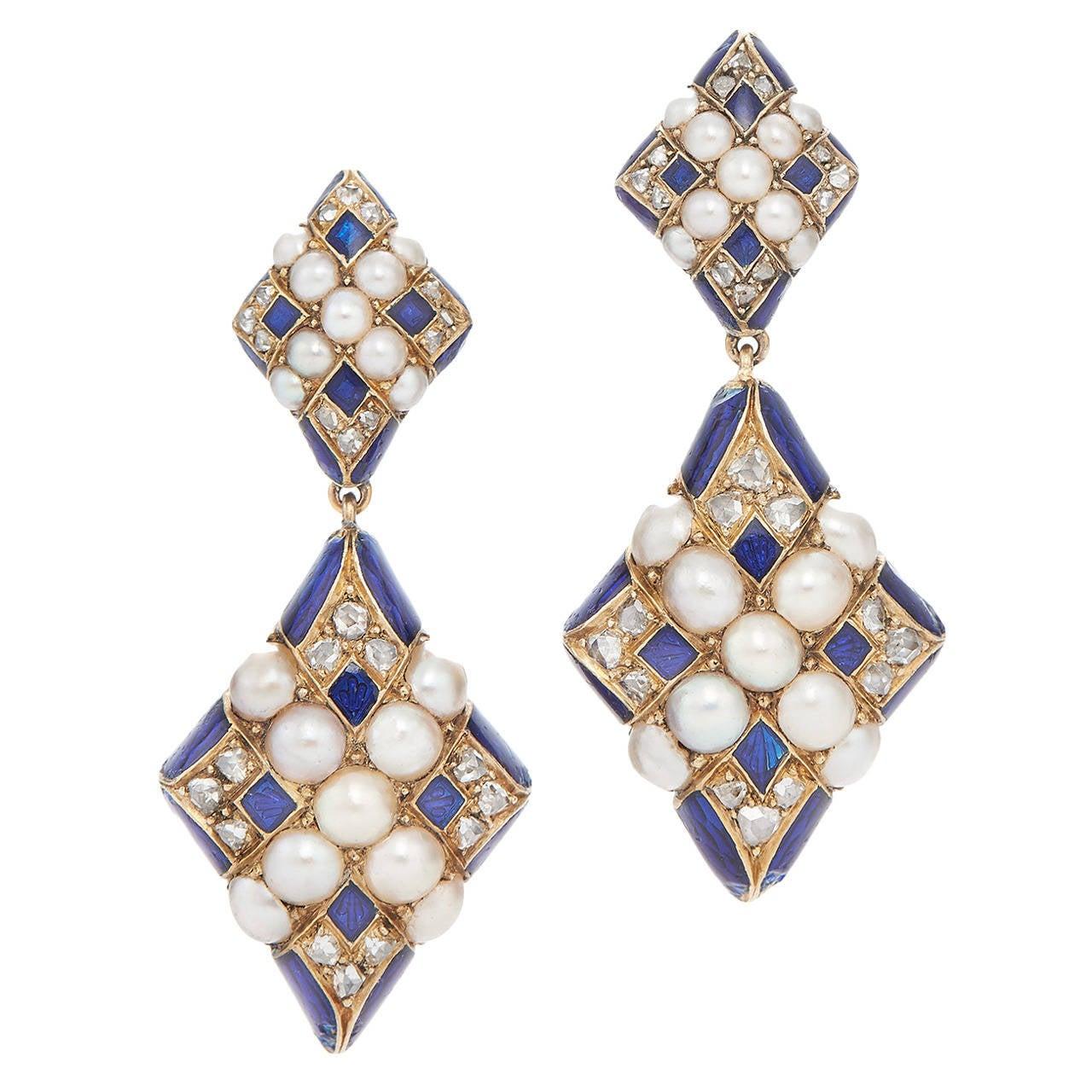 Antique Blue Enamel Pearl Diamond Gold Crosshatch Pendant Earrings