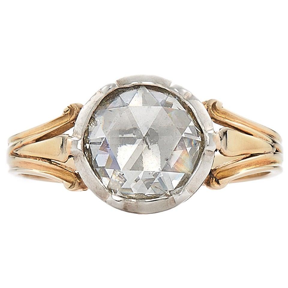 Vintage wedding rings new york - Georgian Rose Cut Diamond Gold Ring 1