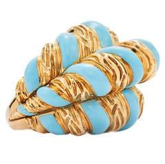 David Webb Blue Enamel Gold Cocktail Ring