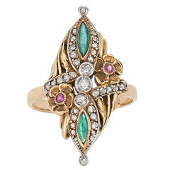 Art Nouveau Emerald Ruby Diamond Gold Platinum Flower Motif Ring