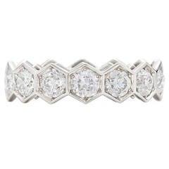 Fred Leighton Old European Diamond Gold Hexagonal Eternity Ring