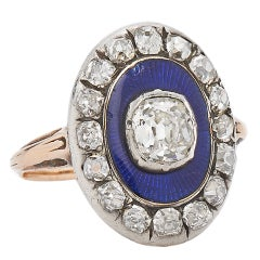 Victorian Blue Enamel Old Mine Diamond Silver Gold Ring