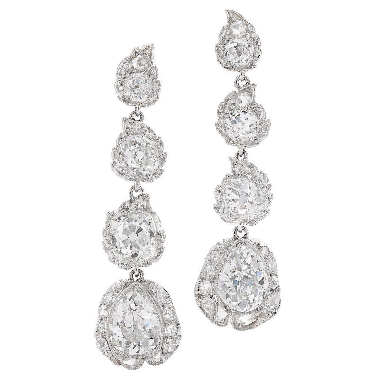 Edwardian Diamond Platinum Stylized Flower Bud Pendant Earrings For Sale