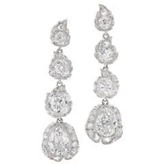 Edwardian Diamond Platinum Stylized Flower Bud Pendant Earrings