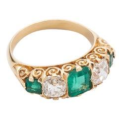 1890s Emerald Diamond Gold Three Stone Ring