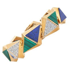 French 1970s Modernist Lapis Lazuli Malachite Diamond Gold Bracelet