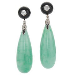 Fred Leighton Jade Onyx Diamond Pendant Earrings