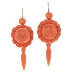 Victorian Carved Coral Pendant Earrings