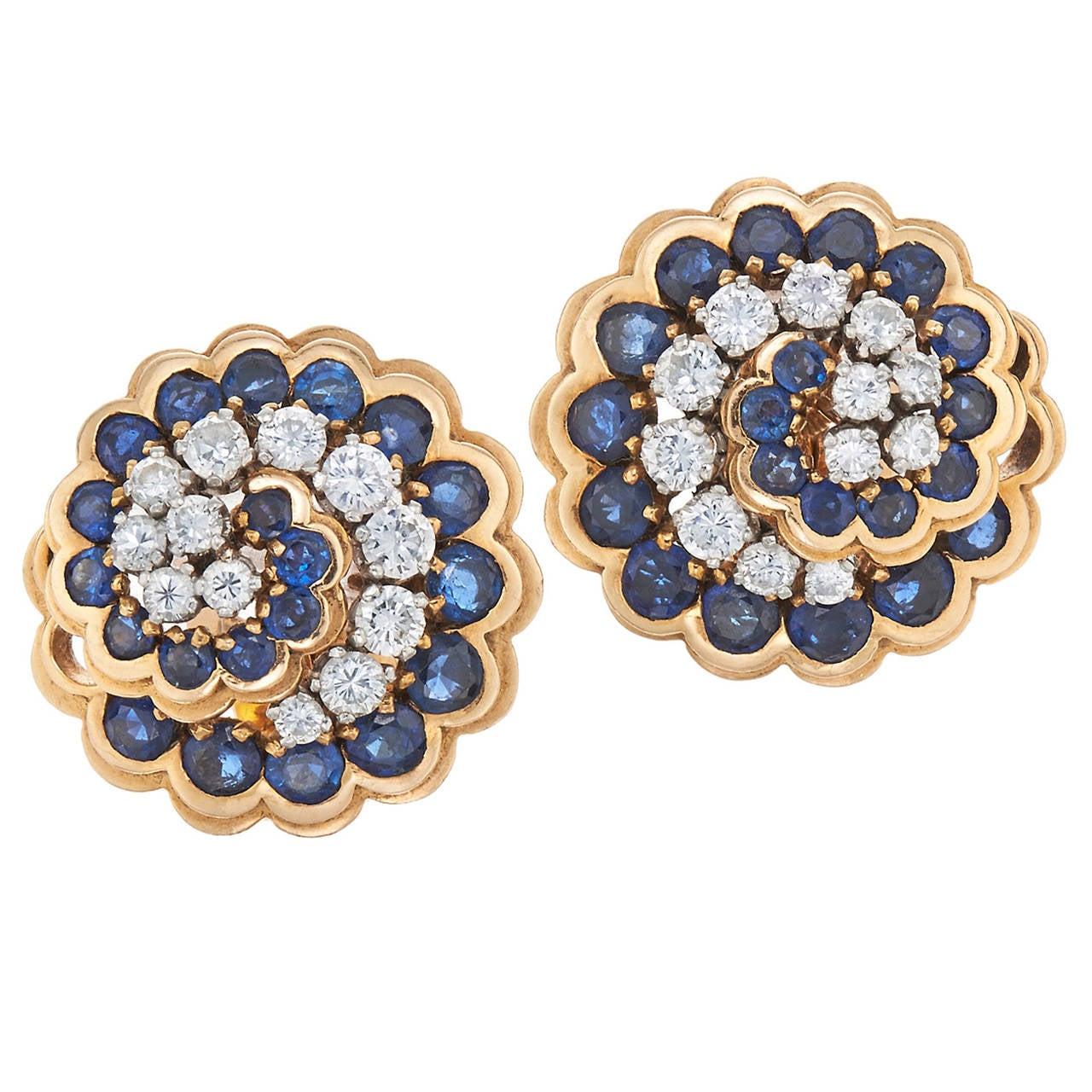 Retro Van Cleef & Arpels Paris Sapphire Diamond Gold Platinum Swirl Earrings For Sale