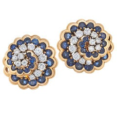 Retro Van Cleef & Arpels Paris Sapphire Diamond Gold Platinum Swirl Earrings