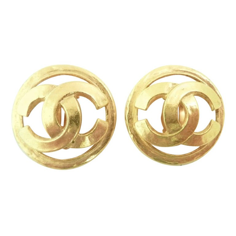 vintage signed chanel 94p logo earrings for sale at 1stdibs