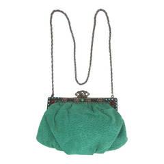 Rare 1960s Jacomo Paris jewel frame jade green suede evening bag