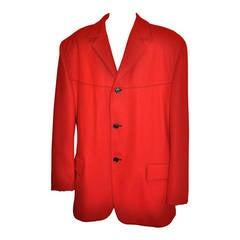 Moschino Men's Engine-Red Wool Jacket