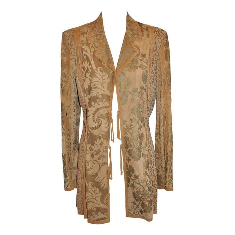 Roberto Cavalli Embossed Lambskin Patchwork Jacket