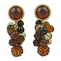 Dominique Aurientis Pate de Verre Fruit Earrings by Gripoix
