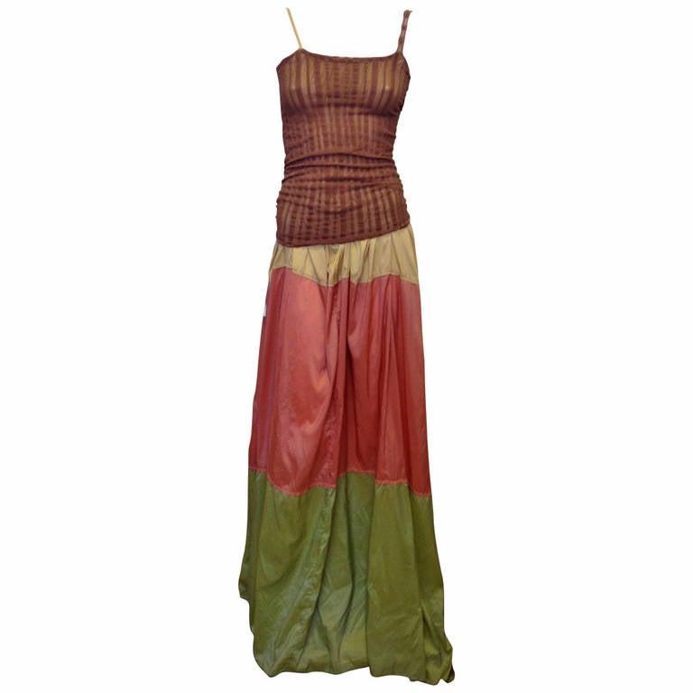 Jean Paul Gaultier Multicolor Maxi Dress For Sale