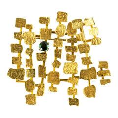 Mid Century Modern Walter Schluep Gold Abstract Brooch Pin