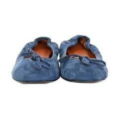 HERMES NEW Blue Suede Ballet Flat Shoes Sz 37