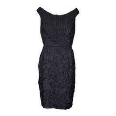 Donna Karan Crinkle Cloque Cocktail Dress