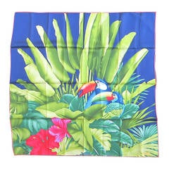Gucci Silk Scarf Floral Jungle Bird New Old stock