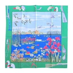 "Gucci Silk Scarf ""Hunting Lake Motif"" New Never worn"