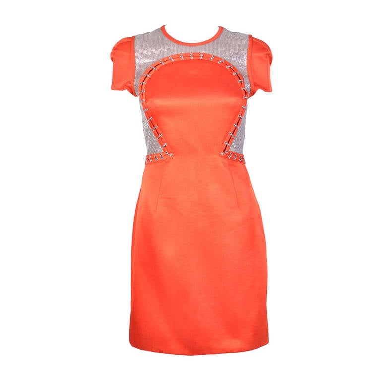 New VERSACE Orange Chain Mesh Panel Dress