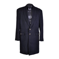 New VERSACE BLACK ANGORA CASHMERE WOOL MEN'S COAT