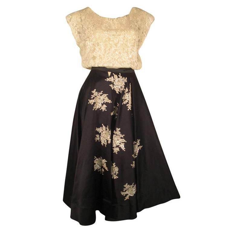 1950s Yma Sumac Estate Couture Lace Blouse and Satin Skirt with Floral Applique For Sale