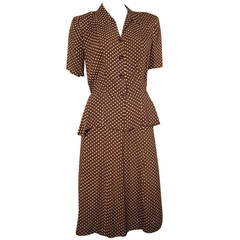 1940s 2-Piece Rayon Brown and White Polka Dot  Day Suit