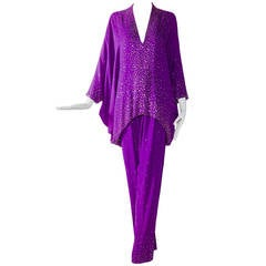 Vintage HALSTON Royal Purple Studded Batwing Blouse and Pant set