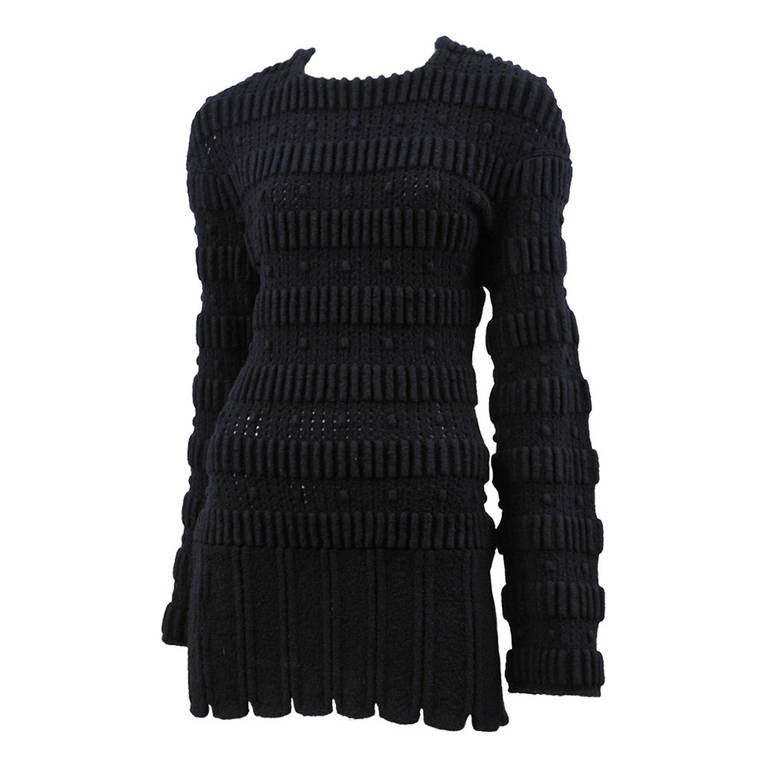 Black Boiled Wool Alaia Mini Dress 1