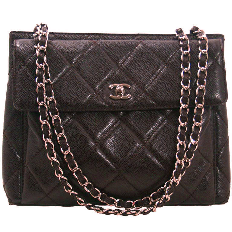 Chanel Brown Caviar Leather Vintage Tote Bag 1