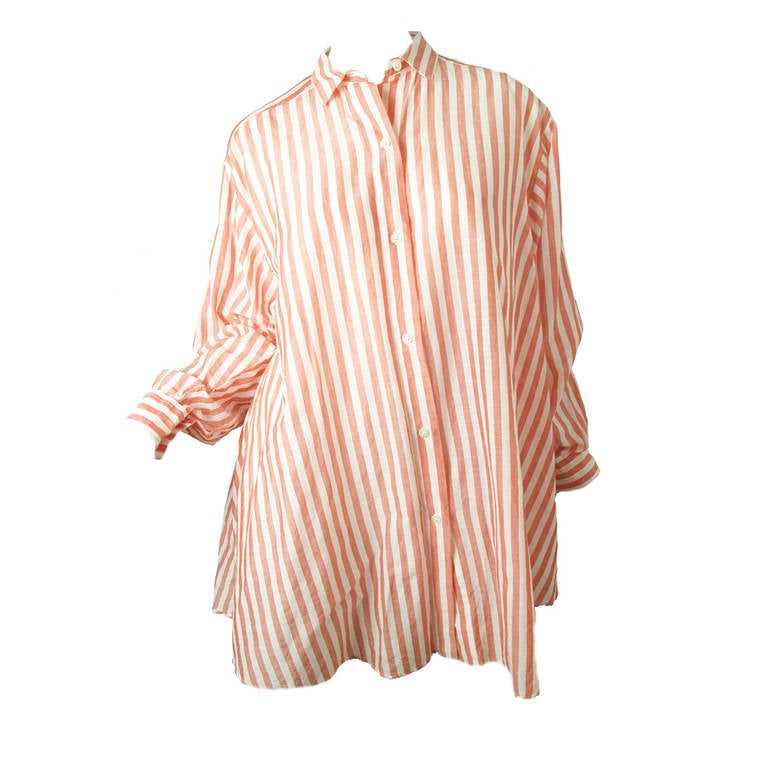 1980s Kenzo red and white striped oversized cotton shirt 1