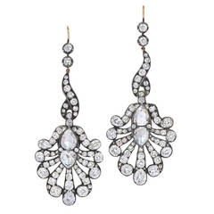 Fred Leighton Rose Cut Diamond Fan Pendant Earrings