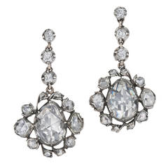 Georgian Rose Cut Diamond Pendant Earrings