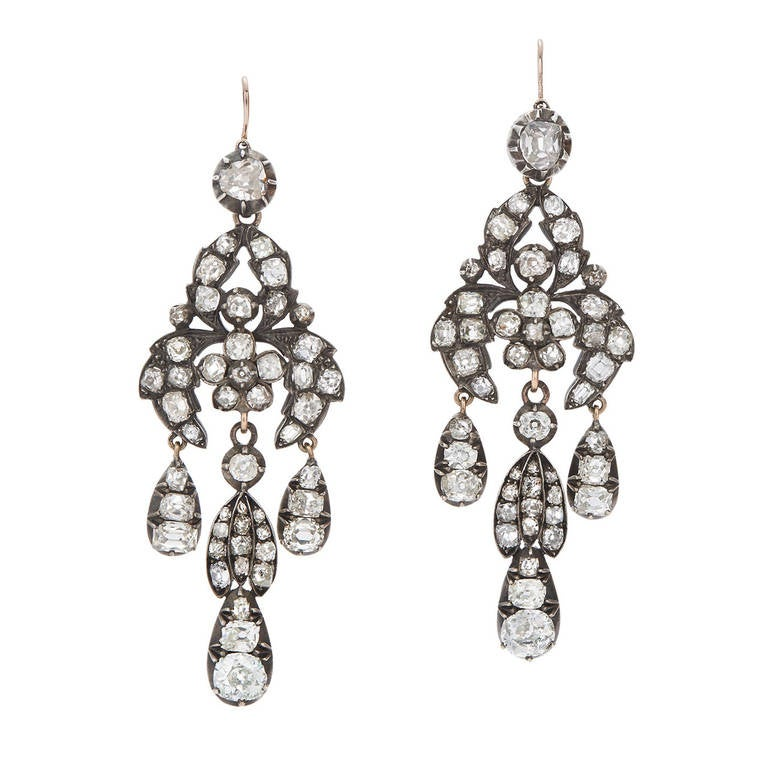 Georgian Diamond Chandelier Earrings