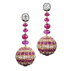 19th Century Ruby Diamond Pendant Earrings