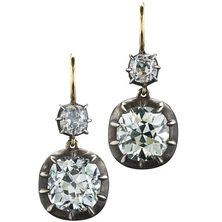 Fred Leighton Old Mine Diamond Double Drop Earrings For Sale