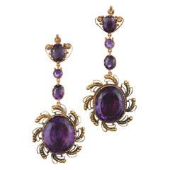 1820s Georgian Amethyst Cannetille Yellow Gold Pendant Earrings
