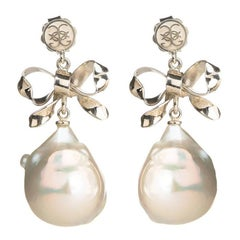 White Gold Bow Baroque Pearl Dangle Drop Earrings
