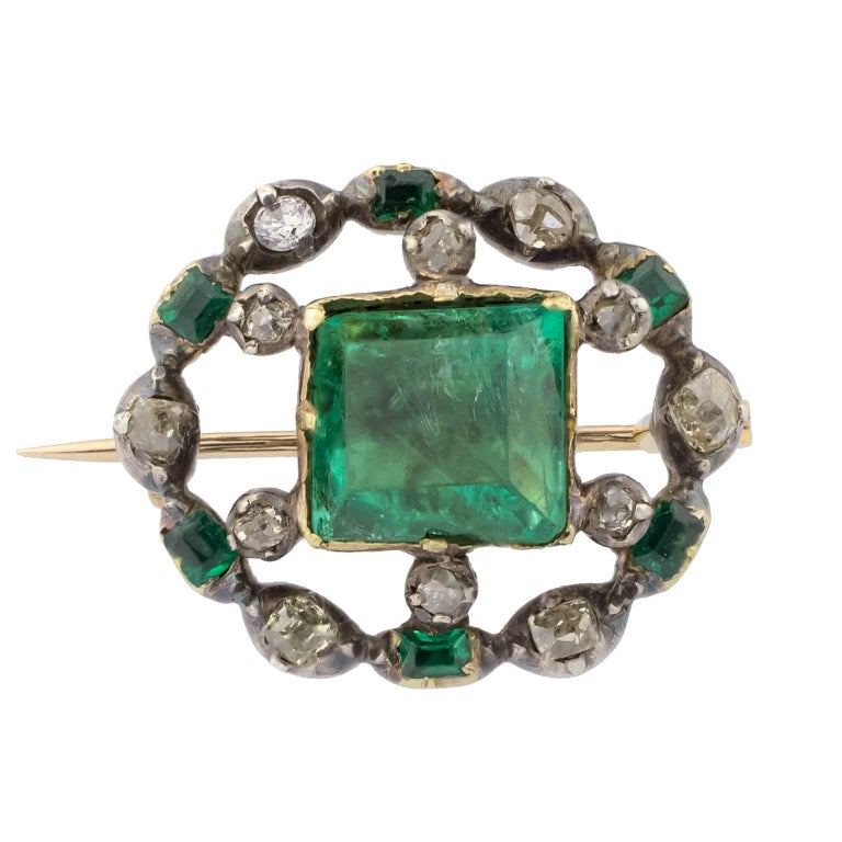 Early 19th Century Emeralds Diamonds Brooch